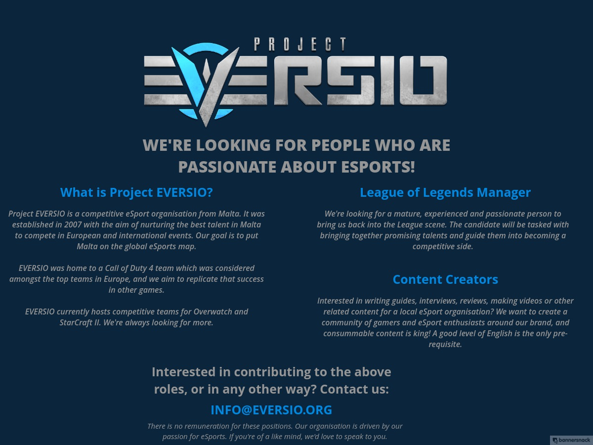 Are you passionate about esports? Project Eversio might have an opportunity for you